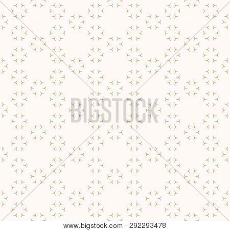 Subtle Golden Seamless Pattern. Vector Abstract Geometric Background With Small Triangular Shapes, F