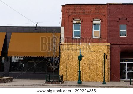 Boarded Up Historic Building In The American Midwest, Rochester Michigan