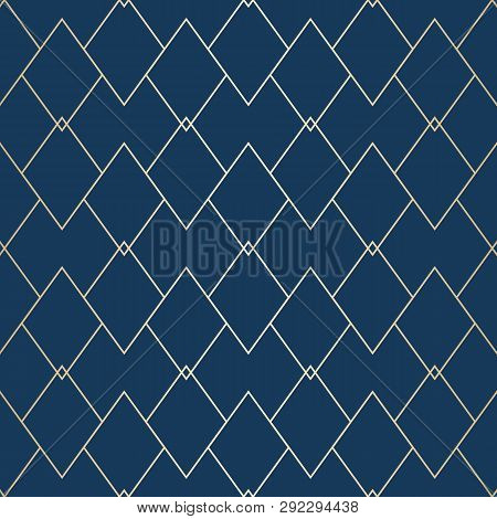 Vector Golden Geometric Texture. Elegant Seamless Pattern With Thin Lines, Diamonds, Rhombuses. Abst
