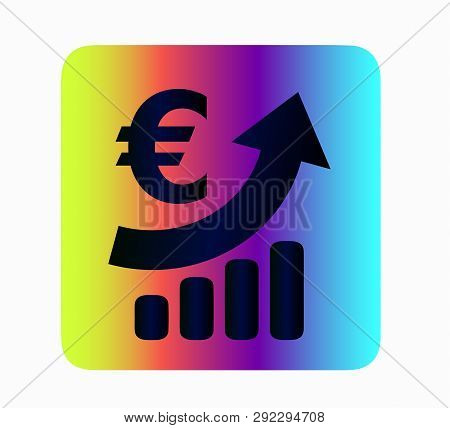 Iconography Euro Currency Growth - Neon Icon Isolated. Bank And Finance, Currency Exchange
