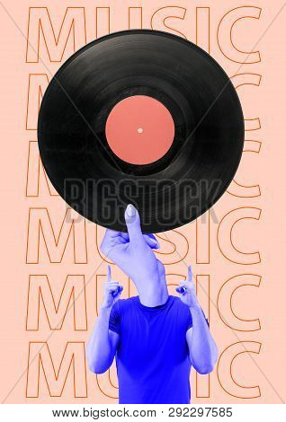 Lovely Songs Always Play In The Head. Meloman Headed By Oldschool Vintage Music. A Man In Blue T-shi