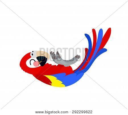 Vector Flat Cartoon Animal Clip Art Ara Parrot, Macaw