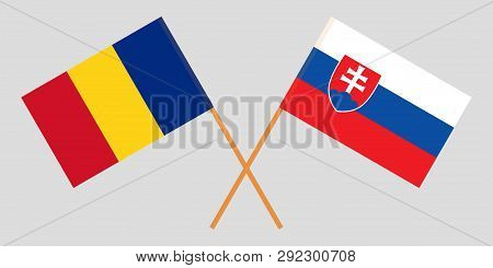 Slovakia And Romania. The Slovakian And Romanian Flags. Official Colors. Correct Proportion. Vector