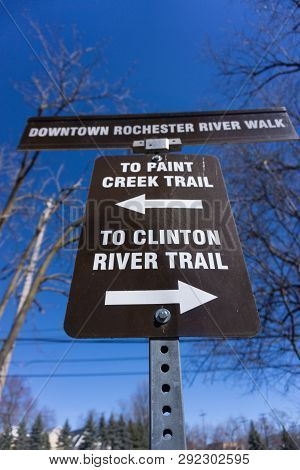 Sign For Paint Creek And Clinton River Trail In Downtown Rochester Michigan