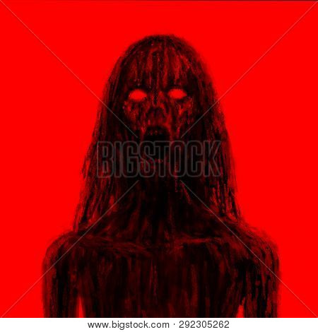 Scary Vampire Girl In Black Mud. Illustration In The Horror Genre. Horror Character Concept. Black A