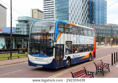 Manchester, Uk - April 22, 2013: People Ride Stagecoach City Bus In Manchester, Uk. Stagecoach Group