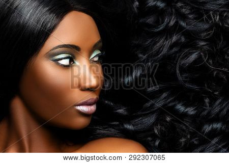 Extreme Close Up Beauty Portrait Of Beautiful Young African Woman With Professional Make Up. Girl Lo