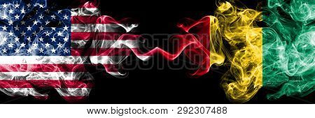 United States Of America Vs Guinea, Guinean Smoky Mystic Flags Placed Side By Side. Thick Colored Si