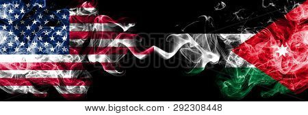 United States Of America Vs Jordan, Jordanian Smoky Mystic Flags Placed Side By Side. Thick Colored