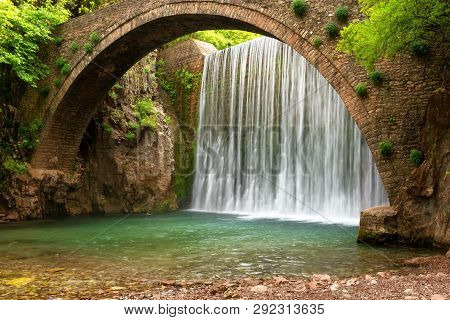 Stunning Spring Landscape.paleokarya, Old, Stone, Arched Bridge, Between Two Waterfalls. Trikala Pre