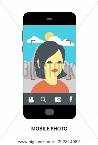 Mobile Photo Concept On Black Smartphone With Different User Interface Elements, Flat Vector Illustr
