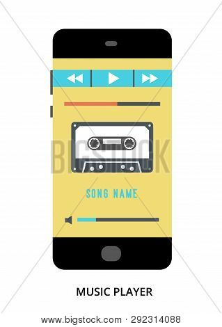 Music Player Concept On Black Smartphone With Different User Interface Elements, Flat Vector Illustr
