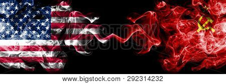 United States Of America Vs Ussr, Communist Smoky Mystic Flags Placed Side By Side. Thick Colored Si