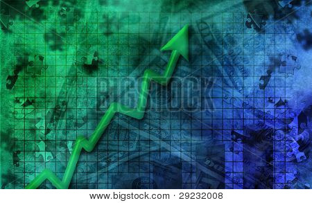 Business abstract with upward momentum arrow