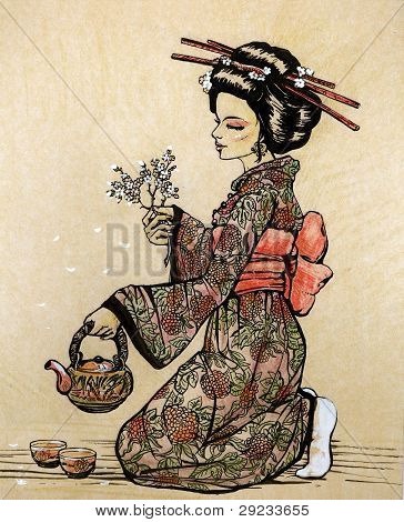 Tea ceremony in Japanese style: geisha with teapot
