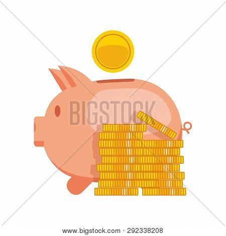 Piggy Bank With Coin Vector Illustration. Icon Saving Or Accumulation Of Money, Investment. Icon Pig
