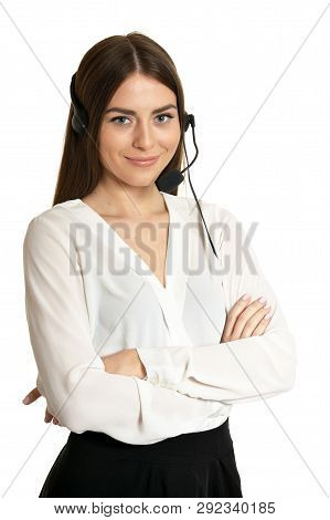 Portrait Of Young Nice Call Operator Woman On A White Background
