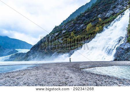Nugget Falls, Also Known As Nugget Creek Falls Or Mendenhall Glacier Falls, A Waterfall Downstream O