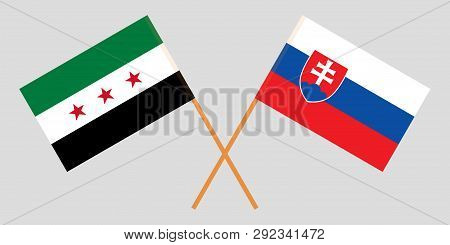 Slovakia And Interim Government Of Syria. The Slovakian And Coalition Flags. Official Colors. Correc