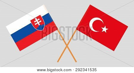 Slovakia And Turkey. The Slovakian And Turkish Flags. Official Colors. Correct Proportion. Vector Il