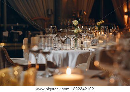 Luxury Elegant Table Setting Dinner In A Restaurant Tableware