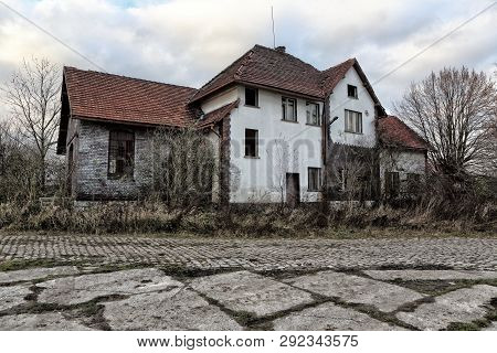 Old Ruined And Abandoned Building Of Defunct Railway Station