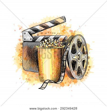 Cinematograph Concept Banner Design Template With Popcorn, Film Reel, Film Tape From A Splash Of Wat