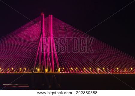 The Bandra-worli Sea Link Is A Cable-stayed Bridge With Pre-stressed Concrete-steel Viaducts On Eith