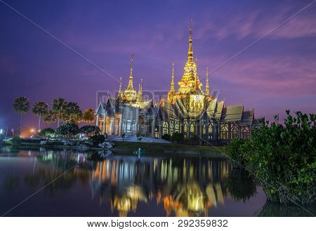 Beautiful Temple Thailand Dramatic Colorful Sky Twilight Sunset Shadow On Water Reflection With Ligh