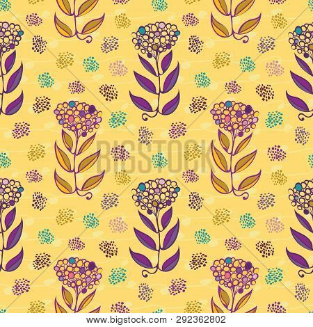 Stylish Hand Drawn Abstract Flowers With Paint Daubs And Subtle Doodle Lines. Seamless Vector Repeat