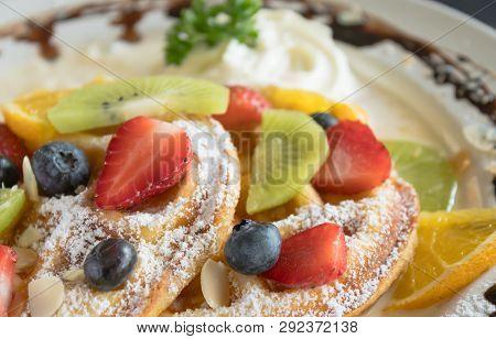 Strawberry Blueberry Kiwi Lemon Waffle Whipped Cream Chocolate Dessert. Fruity dessert food and drink category poster