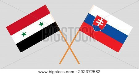 Slovakia And Syria. The Slovakian And Syrian Flags. Official Colors. Correct Proportion. Vector Illu
