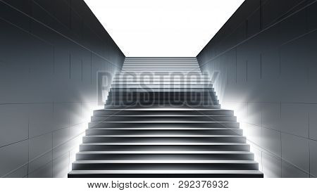 Dark Stair With Light. 3d Illustration On White Background