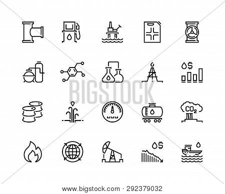 Oil Line Icons. Gas Fuel Station, Chemical Industry Petrol Tank, Petroleum Refinery Factory, Oil Rig