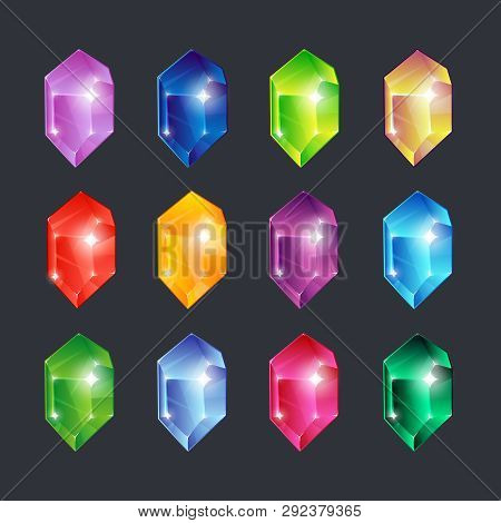 Magic gems. Gem stones jewels diamonds gemstone emerald ruby sapphire glance clear glass brilliant isolated vector cartoon icons set poster