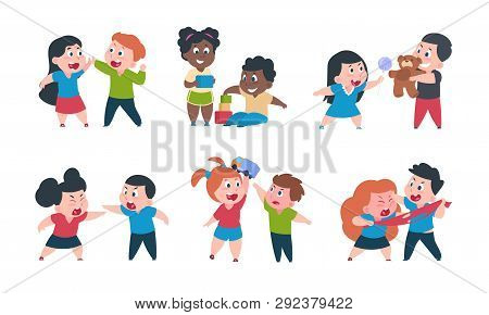 Kids Behavior. Cartoon Brother And Sister Fight Cray Play, Cute Little Boy Girl Happy Characters. Ve