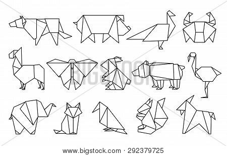 Line Origami Animals. Abstract Polygon Animals, Folded Paper Shapes, Modern Japan Design Templates.
