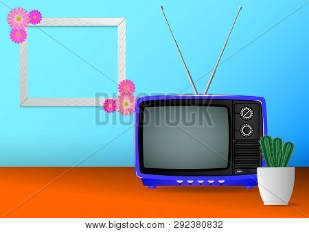 Realistic Minimal Composition, Blue Color Old Vintage Retro Portable Television And Hause Plants Cac