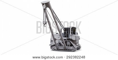 White crawler crane with side boom. 3d rendering. poster
