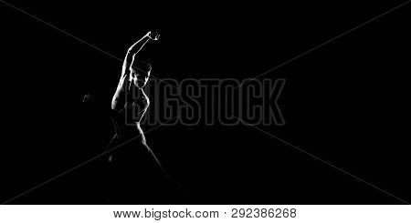 Black And White Silhouette Of Male Ballet Dancer. Long Monochrom Horizontal Image.
