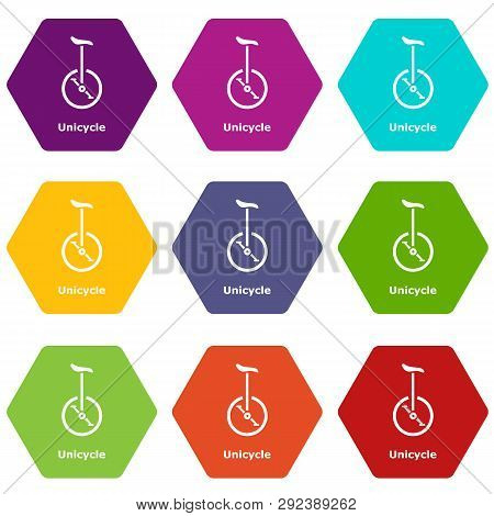Unicycle Icons 9 Set Coloful Isolated On White For Web