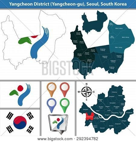 Vector Map Of Yangcheon District Or Gu Of Seoul Metropolitan City In South Korea With Flags And Icon