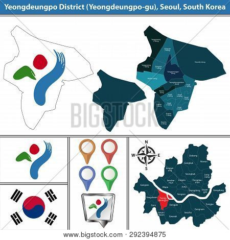 Vector Map Of Yeongdeungpo District Or Gu Of Seoul Metropolitan City In South Korea With Flags And I