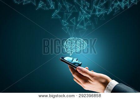 Artificial Intelligence On Smartphone Concept. Smart Phone User And Brain Representing Artificial In
