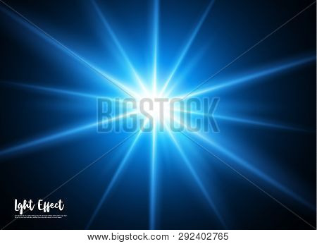A Beautiful Glowing Light Explodes On A Black Background. Glittering Magic Dust Particles. Bright St