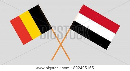 Yemen And Belgium. The Yemeni And  Belgian Flags. Official Colors. Correct Proportion. Vector Illust