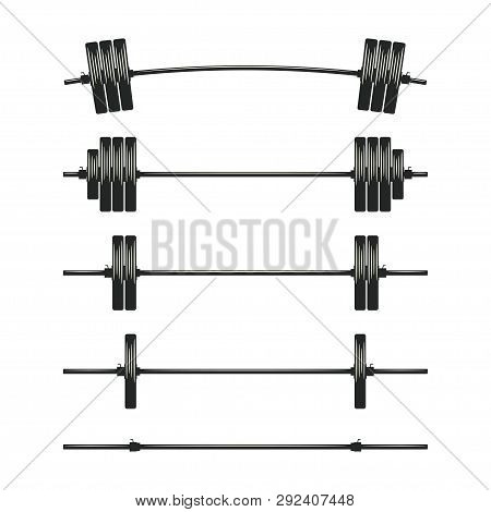 Set Of Barbells. Bodybuilding, Gym, Crossfit, Workout, Fitness Club Symbol. Weightlifting Equipment.