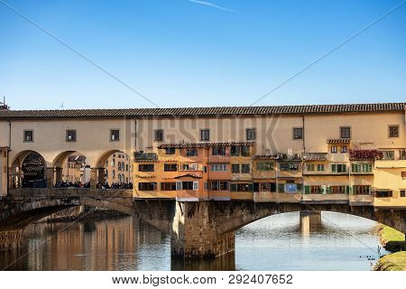 Ponte Vecchio (old bridge) over the Arno River, one of the symbols of Florence, UNESCO world heritage site, Tuscany Italy, Europe poster