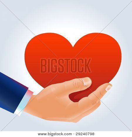 Male's hand ang heart proposal