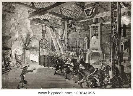 Steam hammer old illustration in Le Creusot foundry. Created by Bonhomme, published on Le Tour du Monde, Paris, 1867